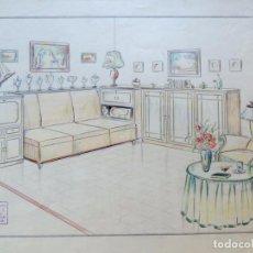 Arte: DIBUJO ORIGINAL AÑOS 40 / HABITACION VINTAGE / MARGALEF - BARCELONA / IDEAL DECORACION. Lote 85132360