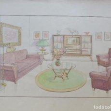 Arte: DIBUJO ORIGINAL AÑOS 40 / HABITACION VINTAGE / MARGALEF - BARCELONA / IDEAL DECORACION. Lote 85132544