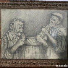 Arte: ANCIANOS CONVERSANDO Y BEBIENDO, ANTIGUO DIBUJO A LAPIZ, FIRMADO Y ENMARCADO. 37X30CM. Lote 85241952