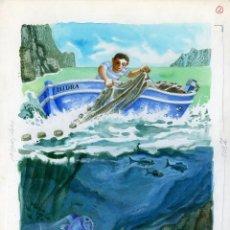 Arte: CELEDONIO PERELLÓN. ILUSTRACIÓN ORIGINAL PARA EL LIBRO EL NIÑO Y EL MAR. 1965. Lote 85531488