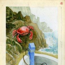 Arte: CELEDONIO PERELLÓN. ILUSTRACIÓN ORIGINAL PARA EL LIBRO EL NIÑO Y EL MAR. 1965. Lote 85532008
