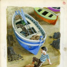 Arte: CELEDONIO PERELLÓN. ILUSTRACIÓN ORIGINAL PARA EL LIBRO EL NIÑO Y EL MAR. 1965. Lote 85532208