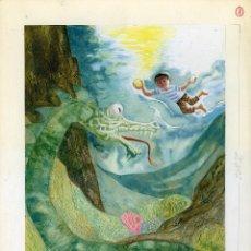 Arte: CELEDONIO PERELLÓN. ILUSTRACIÓN ORIGINAL PARA EL LIBRO EL NIÑO Y EL MAR. 1965. Lote 85532384