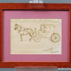Arte: DIBUJO TINTA CARRUAJE FIRMADO Y FECHADO RAFAEL DURANCAMPS 1925 (BARCELONA 1891-1979). Lote 85643768