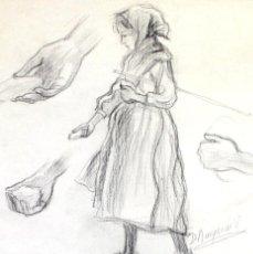 Arte: N3-021. NIÑA. ESBOZO. GRAFITO SOBRE PAPEL. FIRMADO DIONÍS BAIXERAS. ESPAÑA. XIX-XX.. Lote 56225691