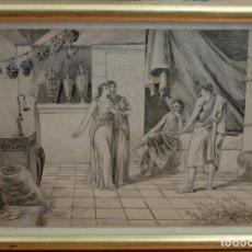 Arte: JOAN SERRA PAUSAS (ACTIVO 1861 - 1902) DIBUJO A TINTA. INTERIOR CON PERSONAJES. Lote 86038352
