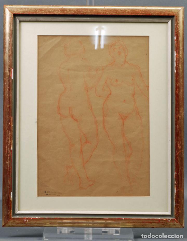 DIBUJO SANGUINA DESNUDOS FEMENINOS SELLO R. CH. URBANOVA ESCRITOR RUSO AÑOS 30 (Arte - Dibujos - Contemporáneos siglo XX)