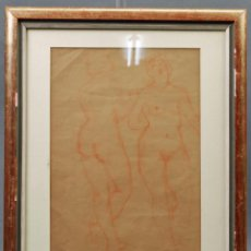 Arte: DIBUJO SANGUINA DESNUDOS FEMENINOS SELLO R. CH. URBANOVA ESCRITOR RUSO AÑOS 30. Lote 86083544