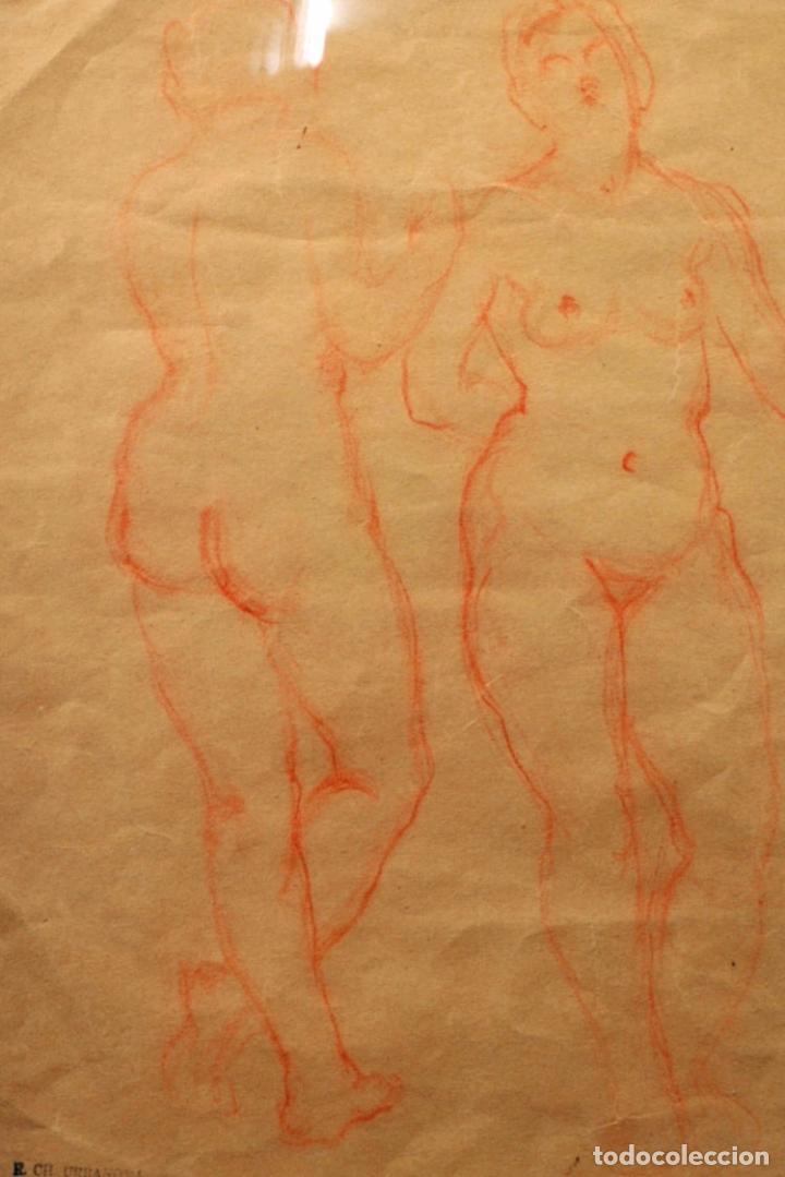 Arte: Dibujo sanguina desnudos femeninos sello R. CH. URBANOVA escritor ruso años 30 - Foto 2 - 86083544