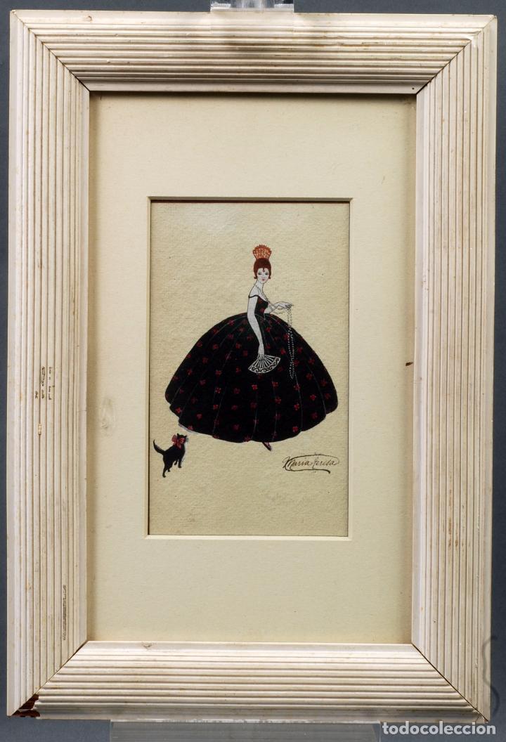 ACUARELA RETRATO DAMA CORTESANA ART DECÓ FIRMADO MARÍA TERESA (Arte - Dibujos - Contemporáneos siglo XX)