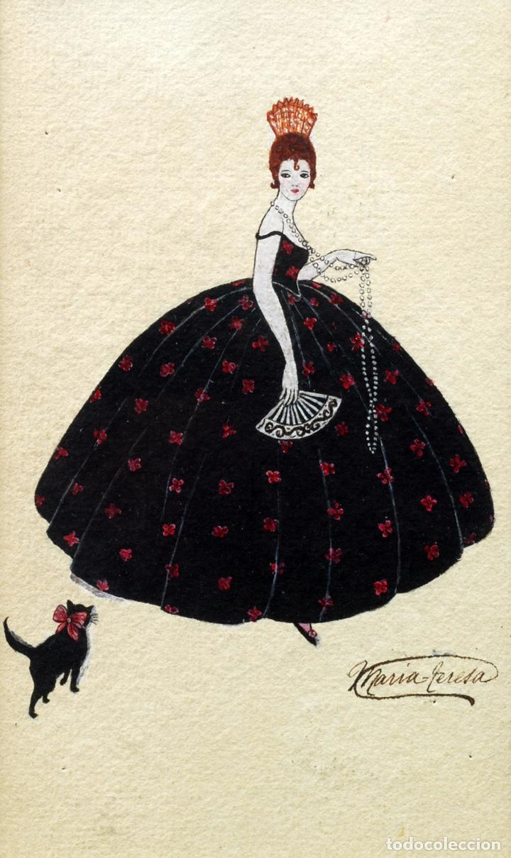 Arte: Acuarela retrato dama cortesana Art Decó firmado María Teresa - Foto 2 - 86087632