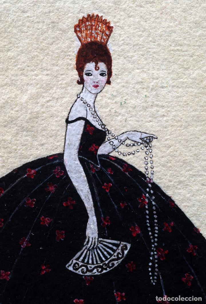 Arte: Acuarela retrato dama cortesana Art Decó firmado María Teresa - Foto 4 - 86087632