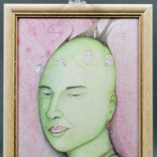 Arte: DIBUJO COLOREADO CERAS RETRATO FEMENINO SURREALISMO SURREALISTA SIGLO XX. Lote 86088952