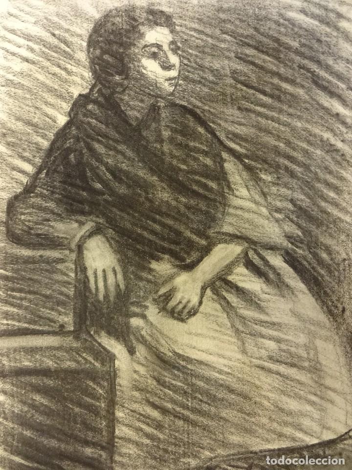 JOAN CARDELLA CRUSELLS. GITANA. RETRATO ORIGINAL AL CARBON. FIRMADA Y FECHADA EN 1959. 50 X 34 CTMS. (Arte - Dibujos - Contemporáneos siglo XX)