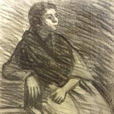 Arte: JOAN CARDELLA CRUSELLS. GITANA. RETRATO ORIGINAL AL CARBON. FIRMADA Y FECHADA EN 1959. 50 X 34 CTMS.. Lote 86215168