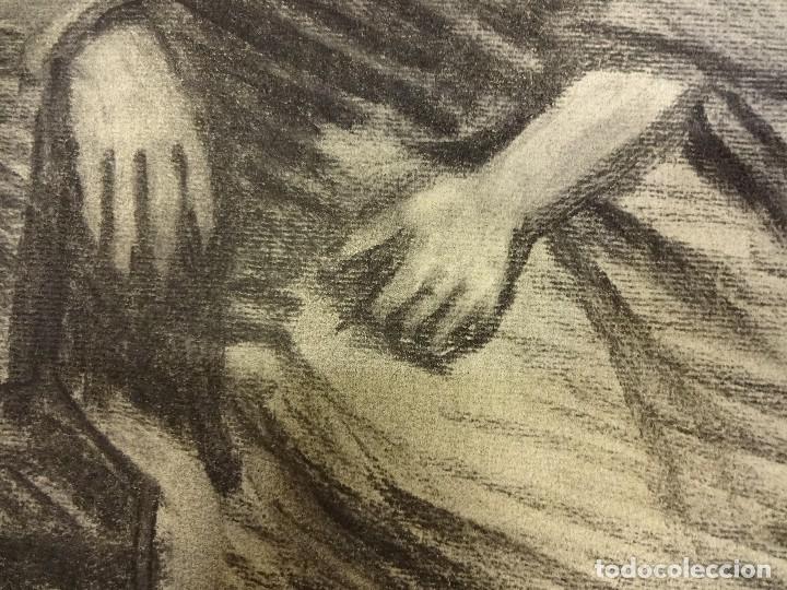 Arte: Joan CARDELLA Crusells. GITANA. Retrato original al carbon. Firmada y fechada en 1959. 50 x 34 ctms. - Foto 3 - 86215168