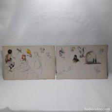 Arte: ANTIGUO BOCETO ESTUDIOS A LAPIZ Y ACUARELA, FINALES SIGLO XIX, MED DE UNA HOJA 21X31 CM.. Lote 86414620