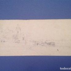 Arte: RAFAEL SENET. VISTA DE UN PUEBLO COSTERO. Lote 86538312