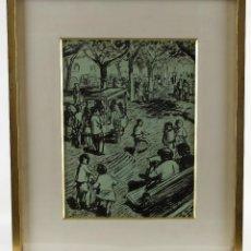 Arte: SEBASTIÀ CONGOST PLA (OLOT, 1919-2009) TINTA SOBRE PAPEL PASEO FIRMADO. Lote 86557956