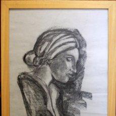 Arte: DIBUJO A CARBONCILLO SOBRE PAPEL, PERFIL DE MUJER, CON MARCO DE MADERA. 56X79CM(SIN ENMARCAR). Lote 86572604
