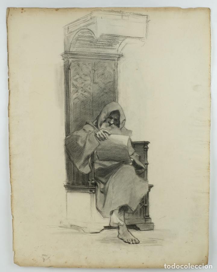 Arte: Dibujo al carboncillo en ambas caras Anciano leyendo y Desnudo femenino finales siglo XIX - Foto 2 - 86647876