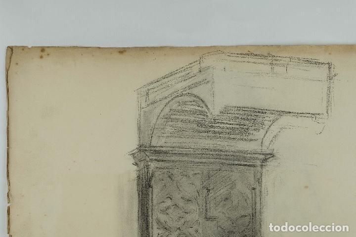 Arte: Dibujo al carboncillo en ambas caras Anciano leyendo y Desnudo femenino finales siglo XIX - Foto 3 - 86647876
