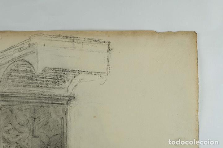 Arte: Dibujo al carboncillo en ambas caras Anciano leyendo y Desnudo femenino finales siglo XIX - Foto 4 - 86647876