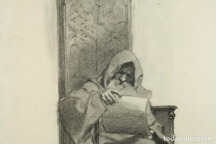 Arte: Dibujo al carboncillo en ambas caras Anciano leyendo y Desnudo femenino finales siglo XIX - Foto 5 - 86647876