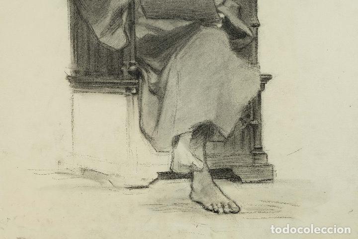 Arte: Dibujo al carboncillo en ambas caras Anciano leyendo y Desnudo femenino finales siglo XIX - Foto 6 - 86647876