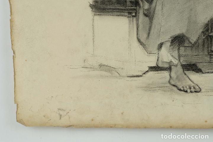 Arte: Dibujo al carboncillo en ambas caras Anciano leyendo y Desnudo femenino finales siglo XIX - Foto 7 - 86647876