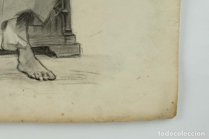 Arte: Dibujo al carboncillo en ambas caras Anciano leyendo y Desnudo femenino finales siglo XIX - Foto 8 - 86647876