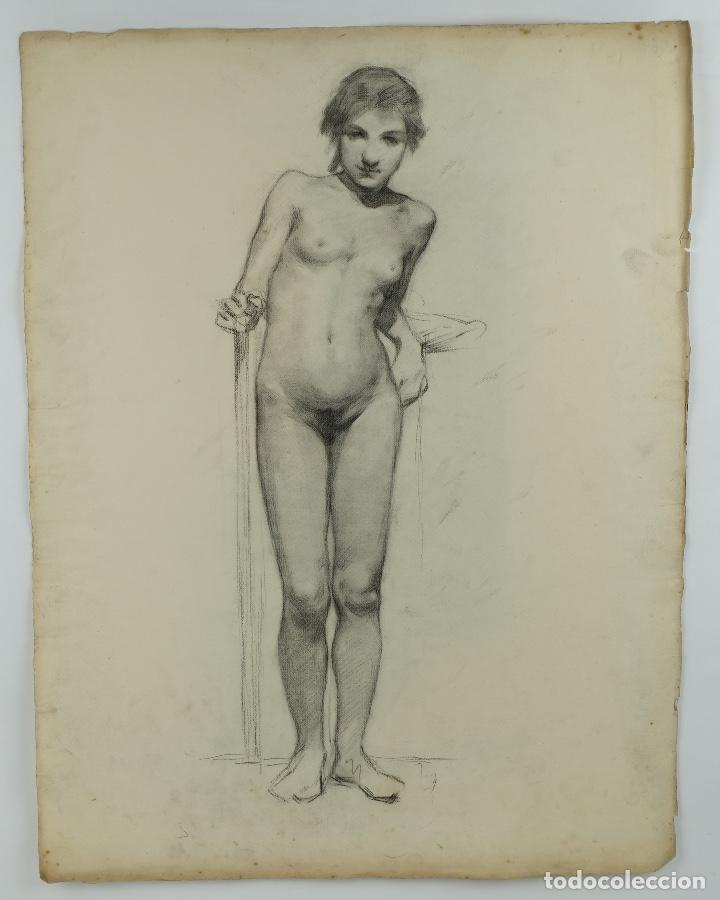 Arte: Dibujo al carboncillo en ambas caras Anciano leyendo y Desnudo femenino finales siglo XIX - Foto 9 - 86647876