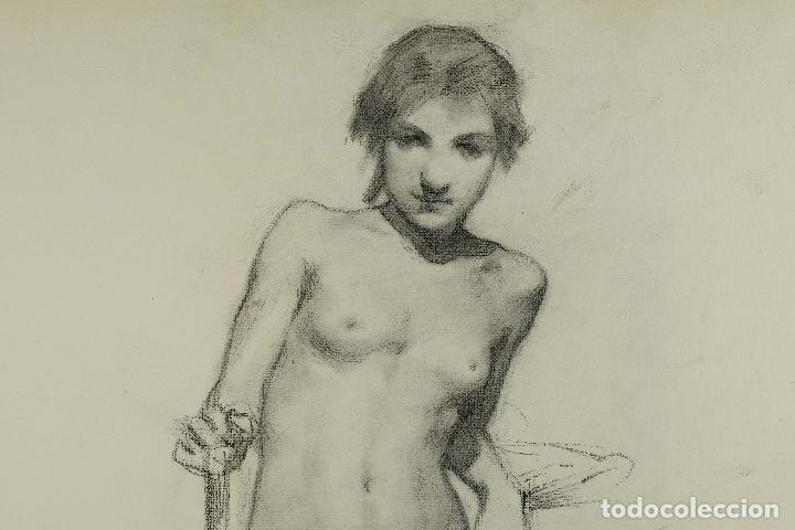 Arte: Dibujo al carboncillo en ambas caras Anciano leyendo y Desnudo femenino finales siglo XIX - Foto 10 - 86647876