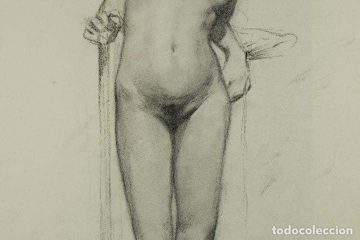Arte: Dibujo al carboncillo en ambas caras Anciano leyendo y Desnudo femenino finales siglo XIX - Foto 11 - 86647876