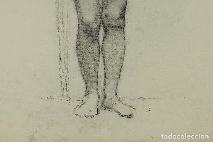 Arte: Dibujo al carboncillo en ambas caras Anciano leyendo y Desnudo femenino finales siglo XIX - Foto 12 - 86647876