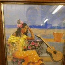 Arte: GITANA CON GUITARRA - LUIS RAMOS ROSAS (MÁLAGA, 1903 - 1965) - GOUACHE SOBRE PAPEL.. Lote 86869352