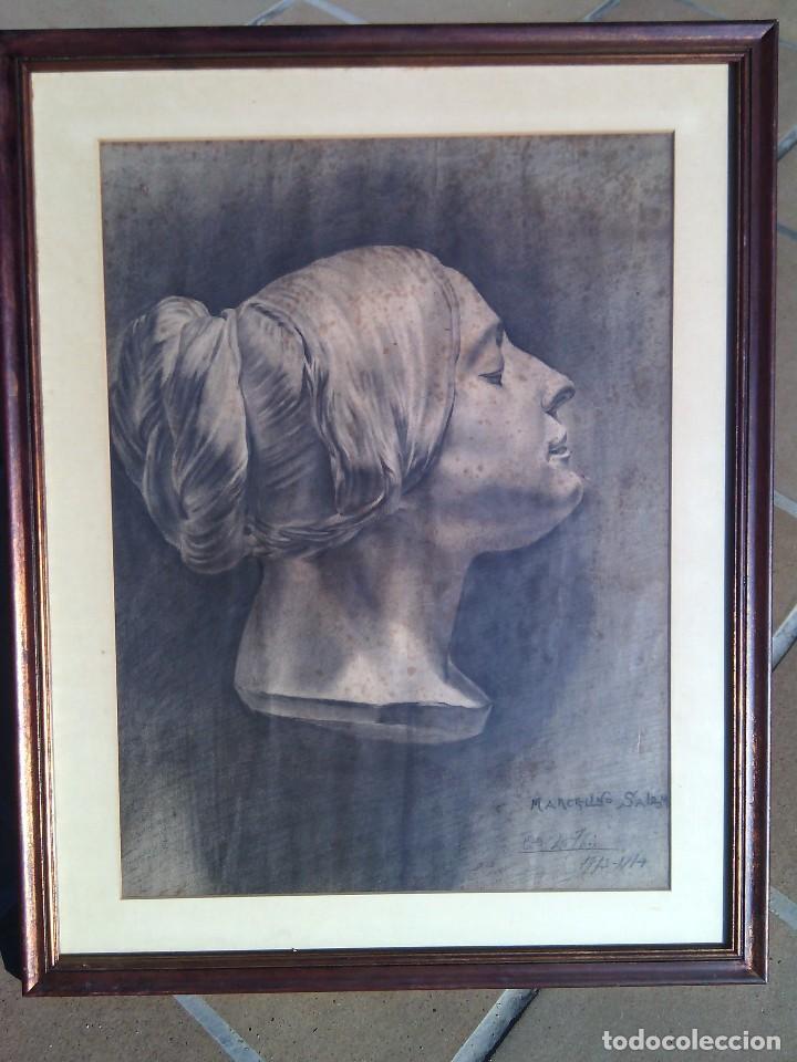 ESCUELA ESPAÑOLA. DIBUJO DE CABEZA FEMENINA AL CARBONCILLO. FIRMADO MARCELINO SALÉM. CIRCA 1913-14. (Arte - Dibujos - Contemporáneos siglo XX)