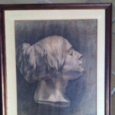 Arte: ESCUELA ESPAÑOLA. DIBUJO DE CABEZA FEMENINA AL CARBONCILLO. FIRMADO MARCELINO SALÉM. CIRCA 1913-14.. Lote 87060400