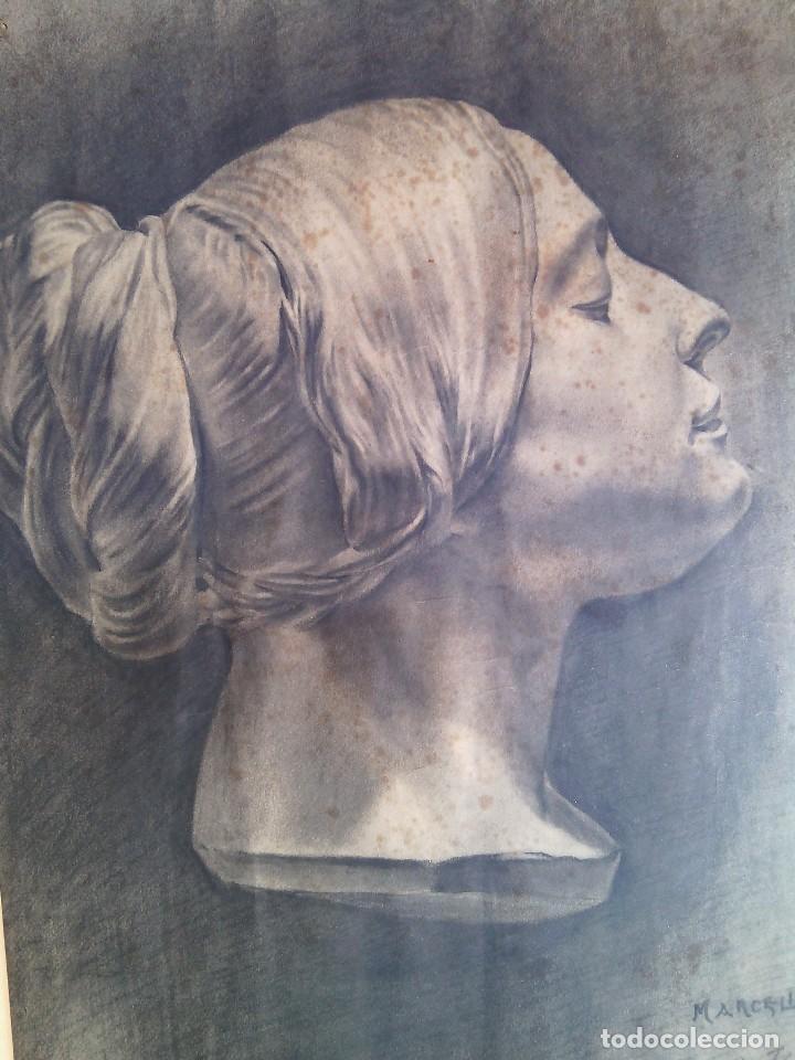 Arte: ESCUELA ESPAÑOLA. DIBUJO DE CABEZA FEMENINA AL CARBONCILLO. FIRMADO MARCELINO SALÉM. CIRCA 1913-14. - Foto 4 - 87060400
