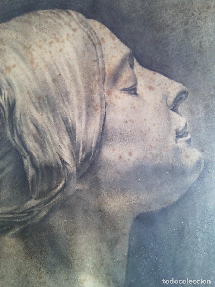Arte: ESCUELA ESPAÑOLA. DIBUJO DE CABEZA FEMENINA AL CARBONCILLO. FIRMADO MARCELINO SALÉM. CIRCA 1913-14. - Foto 5 - 87060400