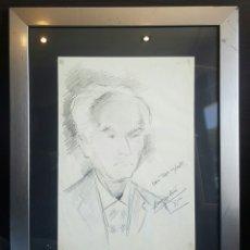 Arte: AMÉRIGO ASIN, JUAN MANUEL. ALICANTE, RETRATO A LAPIZ DE BENJAMIN PALENCIA FIRMADO Y DEDICADO. Lote 87420243