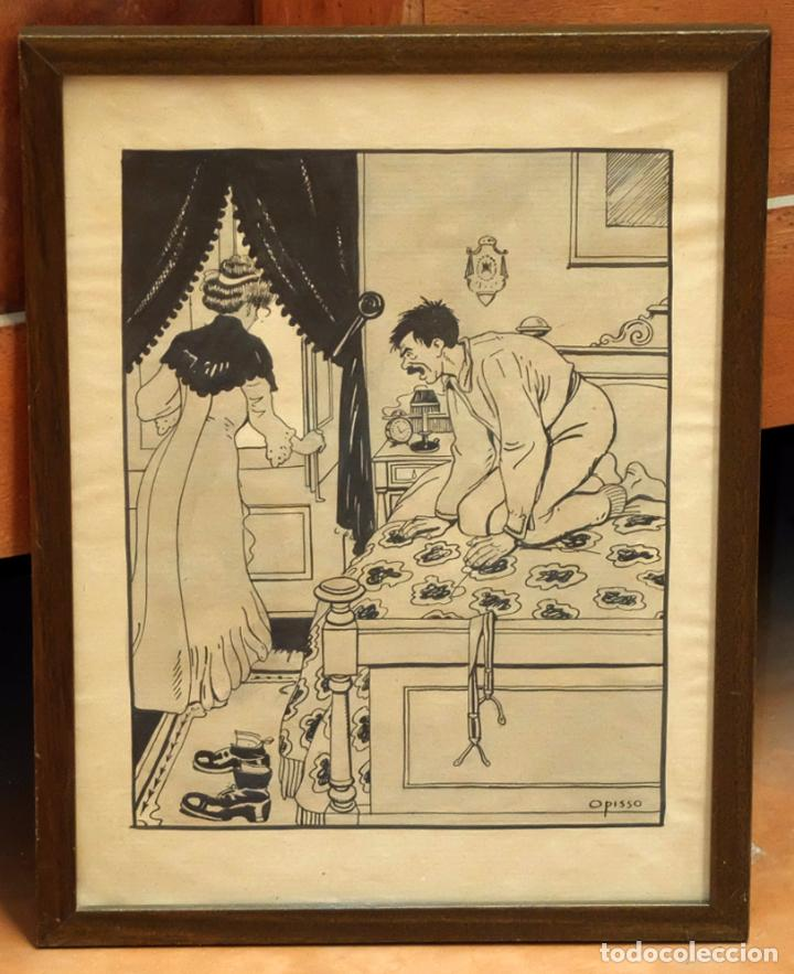 RICARDO OPISSO I SALA (TARRAGONA, 1880 - BCN, 1966) DIBUJO A TINTA DE TEMA HUMORISTICO (Arte - Dibujos - Contemporáneos siglo XX)