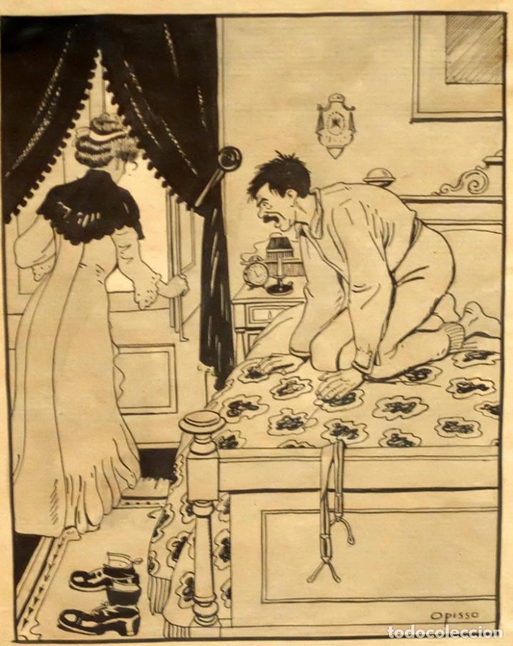 Arte: RICARDO OPISSO I SALA (TARRAGONA, 1880 - BCN, 1966) DIBUJO A TINTA DE TEMA HUMORISTICO - Foto 2 - 220103791
