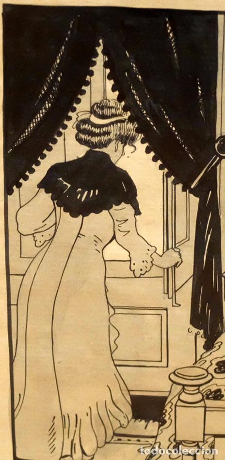 Arte: RICARDO OPISSO I SALA (TARRAGONA, 1880 - BCN, 1966) DIBUJO A TINTA DE TEMA HUMORISTICO - Foto 5 - 220103791