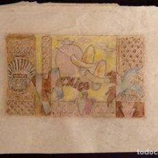 Arte: DIBUJO ORIGINAL PARA CARTEL TURISTICO. MEXICO. ENVIO CERTIFICADO INCLUIDO EN EL PRECIO... Lote 87531184