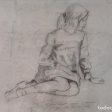 Arte: FORGES . DIBUJO A CARBONCILLO Y LÁPIZ DE UNA CHICA. FIRMA Y DEDICATORIA MANUAL POR EL AUTOR.. Lote 87676132