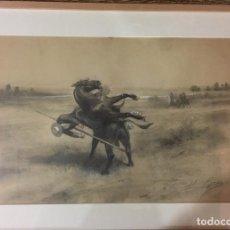 Arte: DANIEL PEREA. TOROS. DIBUJO A CLARION. 32,5X50 CM.. Lote 87680140