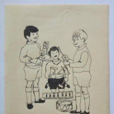 Arte: MARAVILLOSO DIBUJO ORIGINAL A TINTA, POSIBLEMENTE PARA CUENTO DE LOS AÑOS CINCUENTA, NIÑOS MÚSICOS. Lote 89089992