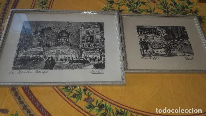 LOTE DE 2 DIBUJOS ENMARCADOS,LE MOULIN ROUGE Y CHEZ LOUIS,FIRMADOS,CORES. (Arte - Dibujos - Contemporáneos siglo XX)