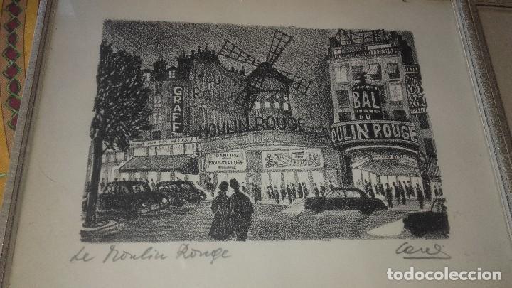Arte: Lote de 2 dibujos enmarcados,le moulin rouge y chez louis,firmados,cores. - Foto 2 - 89095828